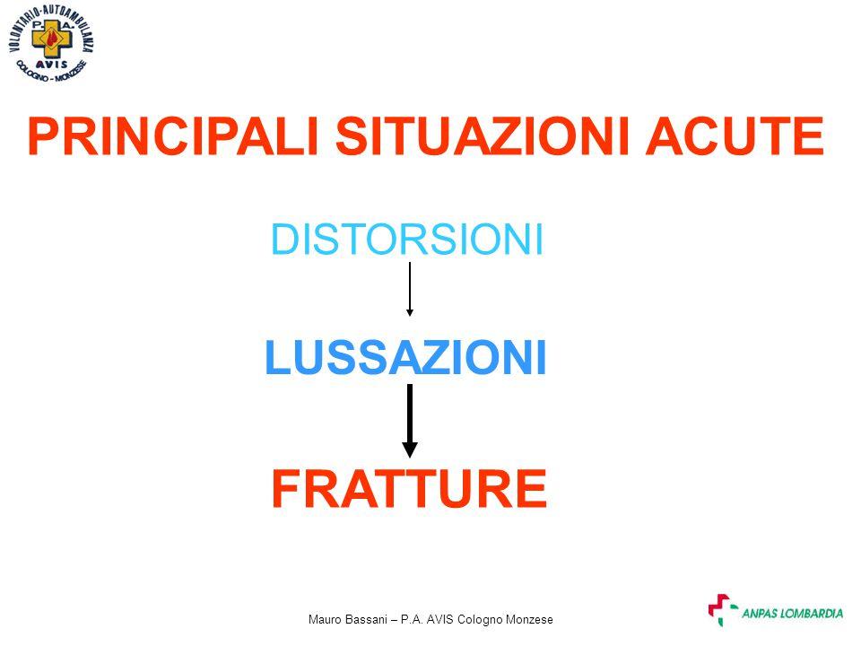 Mauro Bassani – P.A. AVIS Cologno Monzese PRINCIPALI SITUAZIONI ACUTE DISTORSIONI LUSSAZIONI FRATTURE