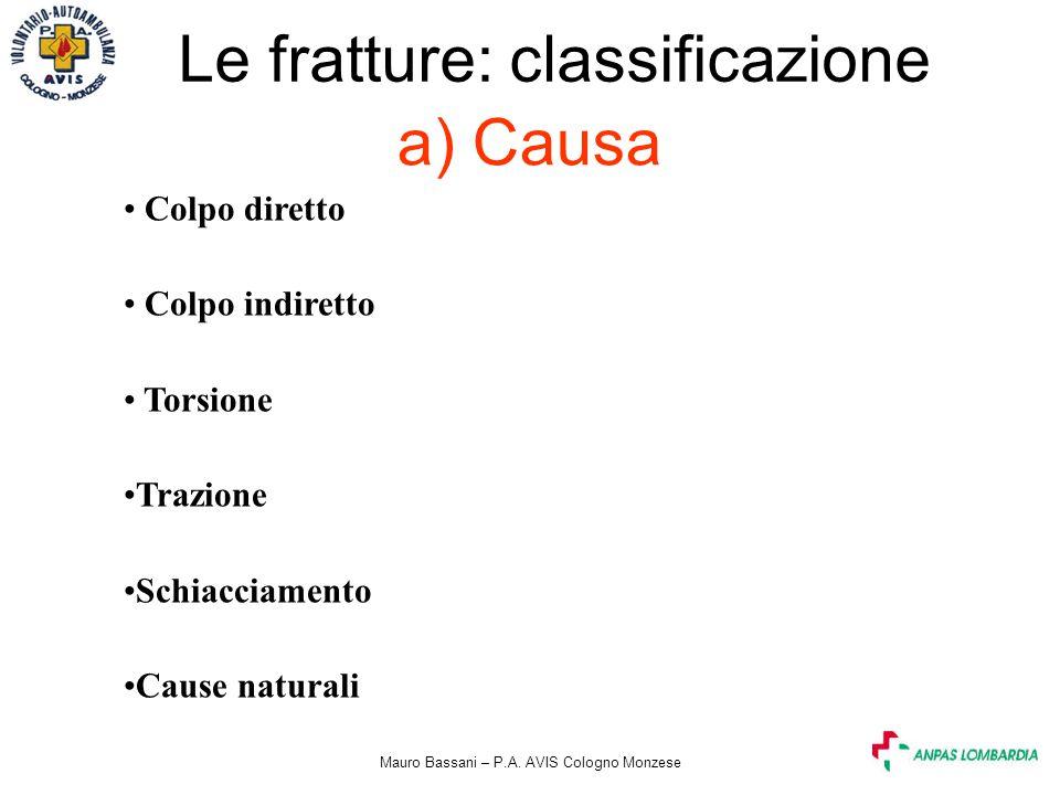 Mauro Bassani – P.A. AVIS Cologno Monzese a) Causa Le fratture: classificazione Colpo diretto Colpo indiretto Torsione Trazione Schiacciamento Cause n
