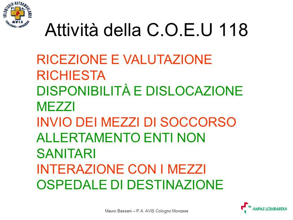 Mauro Bassani – P.A. AVIS Cologno Monzese Attività della C.O.E.U 118 RICEZIONE E VALUTAZIONE RICHIESTA DISPONIBILITÀ E DISLOCAZIONE MEZZI INVIO DEI ME