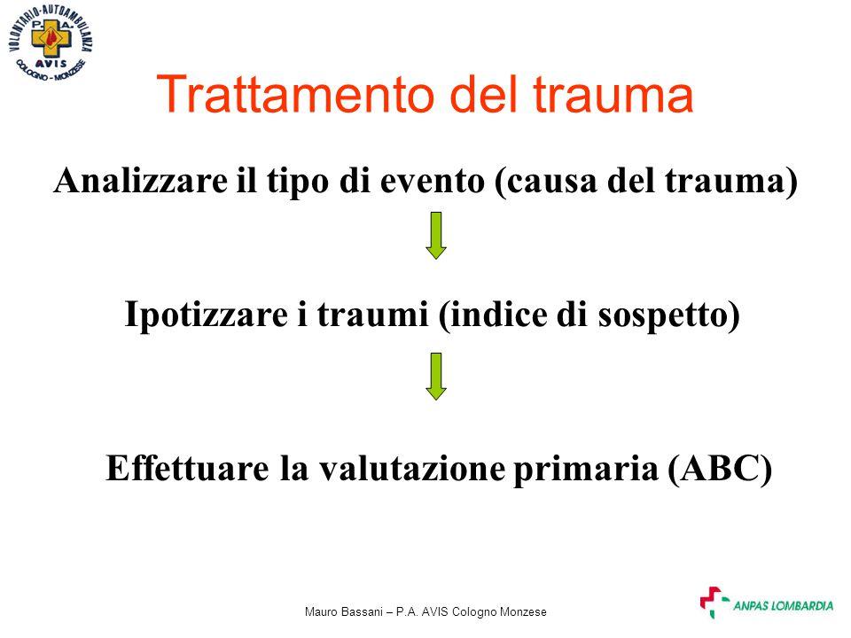 Mauro Bassani – P.A. AVIS Cologno Monzese Trattamento del trauma Analizzare il tipo di evento (causa del trauma) Ipotizzare i traumi (indice di sospet