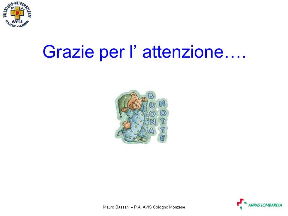 Mauro Bassani – P.A. AVIS Cologno Monzese Grazie per l' attenzione….