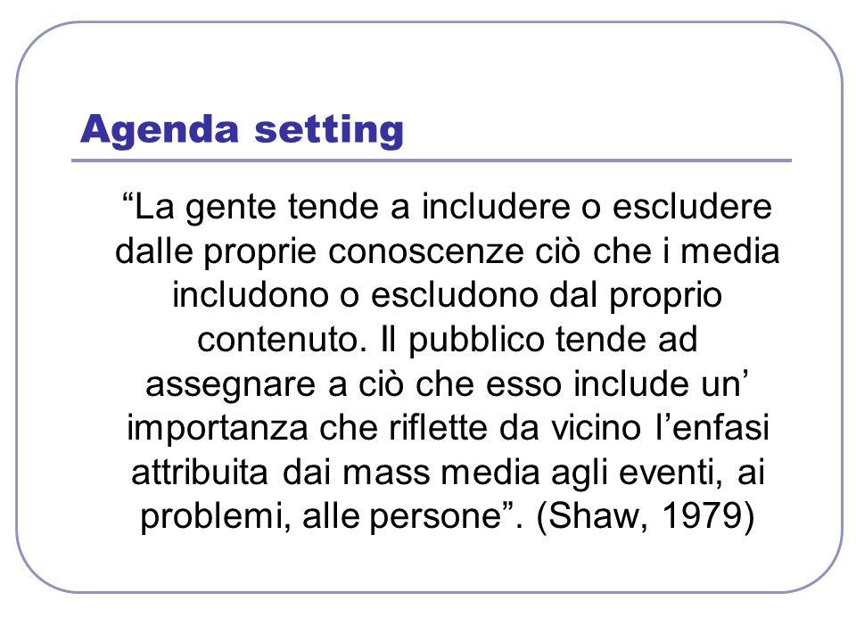 """Agenda setting """"La gente tende a includere o escludere dalle proprie conoscenze ciò che i media includono o escludono dal proprio contenuto. Il pubbli"""