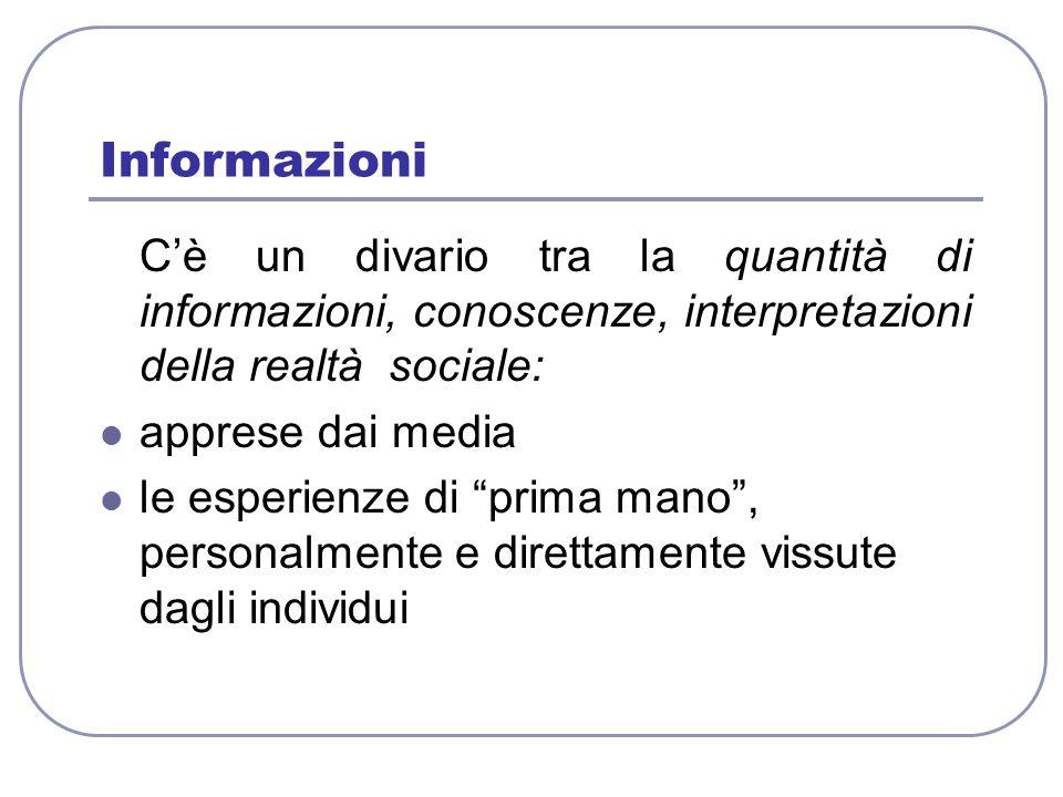"""Informazioni C'è un divario tra la quantità di informazioni, conoscenze, interpretazioni della realtà sociale: apprese dai media le esperienze di """"pri"""