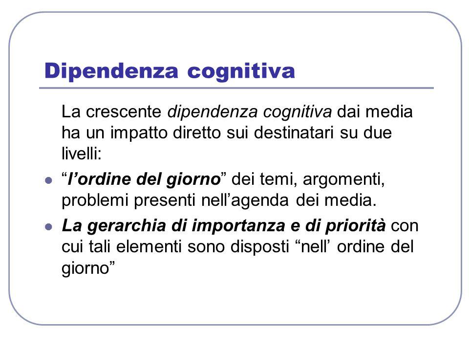 """Dipendenza cognitiva La crescente dipendenza cognitiva dai media ha un impatto diretto sui destinatari su due livelli: """"l'ordine del giorno"""" dei temi,"""