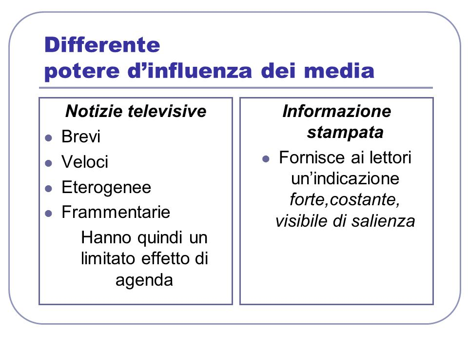 Differente potere d'influenza dei media Notizie televisive Brevi Veloci Eterogenee Frammentarie Hanno quindi un limitato effetto di agenda Informazion