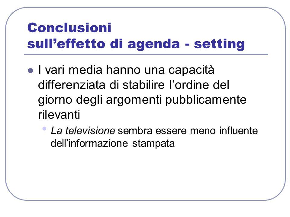 Conclusioni sull'effetto di agenda - setting I vari media hanno una capacità differenziata di stabilire l'ordine del giorno degli argomenti pubblicame