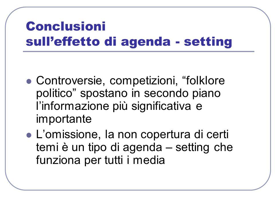 """Conclusioni sull'effetto di agenda - setting Controversie, competizioni, """"folklore politico"""" spostano in secondo piano l'informazione più significativ"""