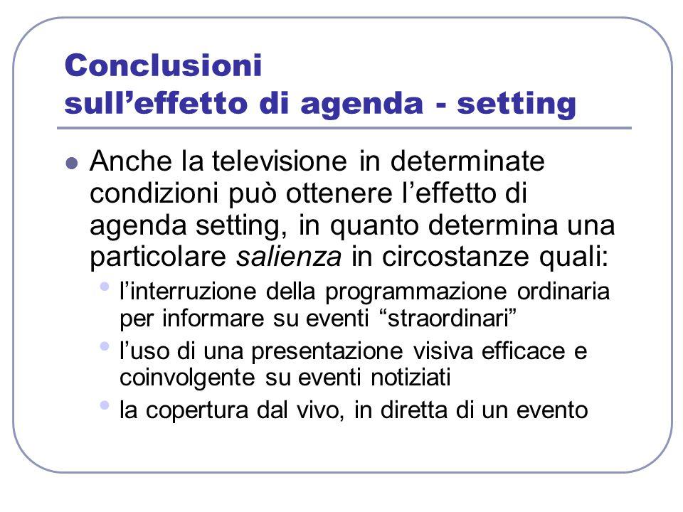 Conclusioni sull'effetto di agenda - setting Anche la televisione in determinate condizioni può ottenere l'effetto di agenda setting, in quanto determ