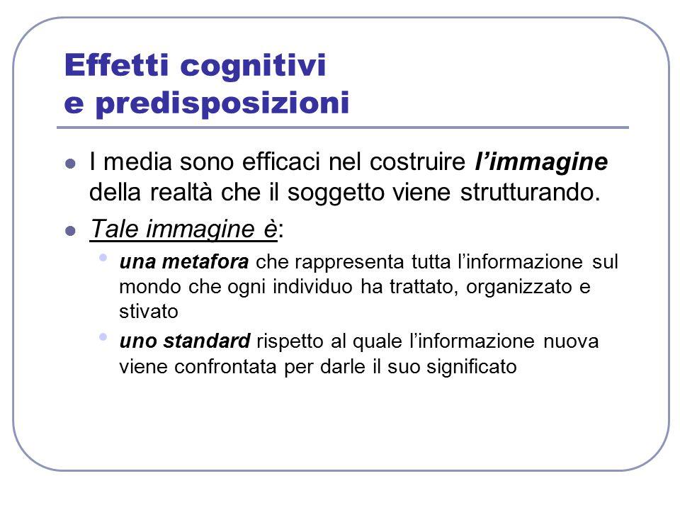 Effetti cognitivi e predisposizioni I media sono efficaci nel costruire l'immagine della realtà che il soggetto viene strutturando. Tale immagine è: u