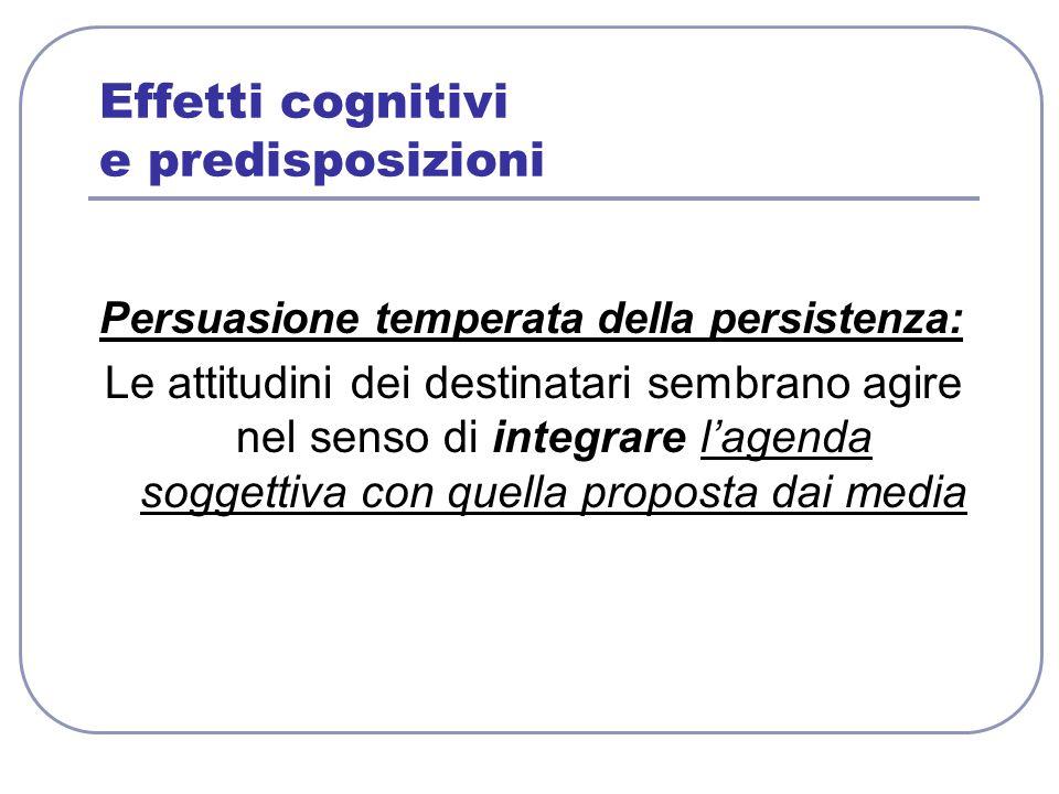 Effetti cognitivi e predisposizioni Persuasione temperata della persistenza: Le attitudini dei destinatari sembrano agire nel senso di integrare l'age