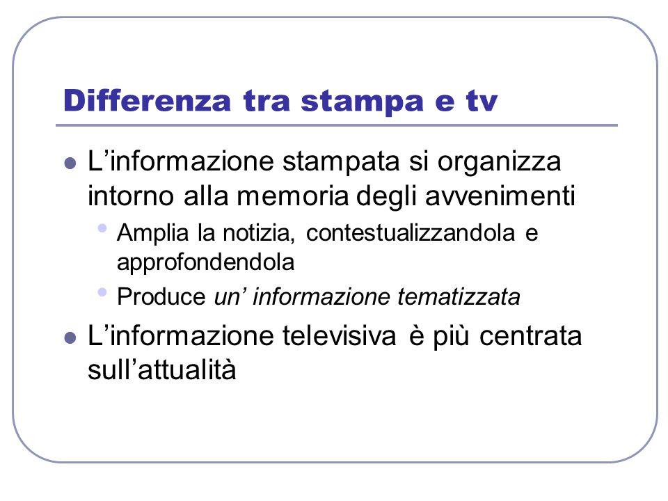 Differenza tra stampa e tv L'informazione stampata si organizza intorno alla memoria degli avvenimenti Amplia la notizia, contestualizzandola e approf
