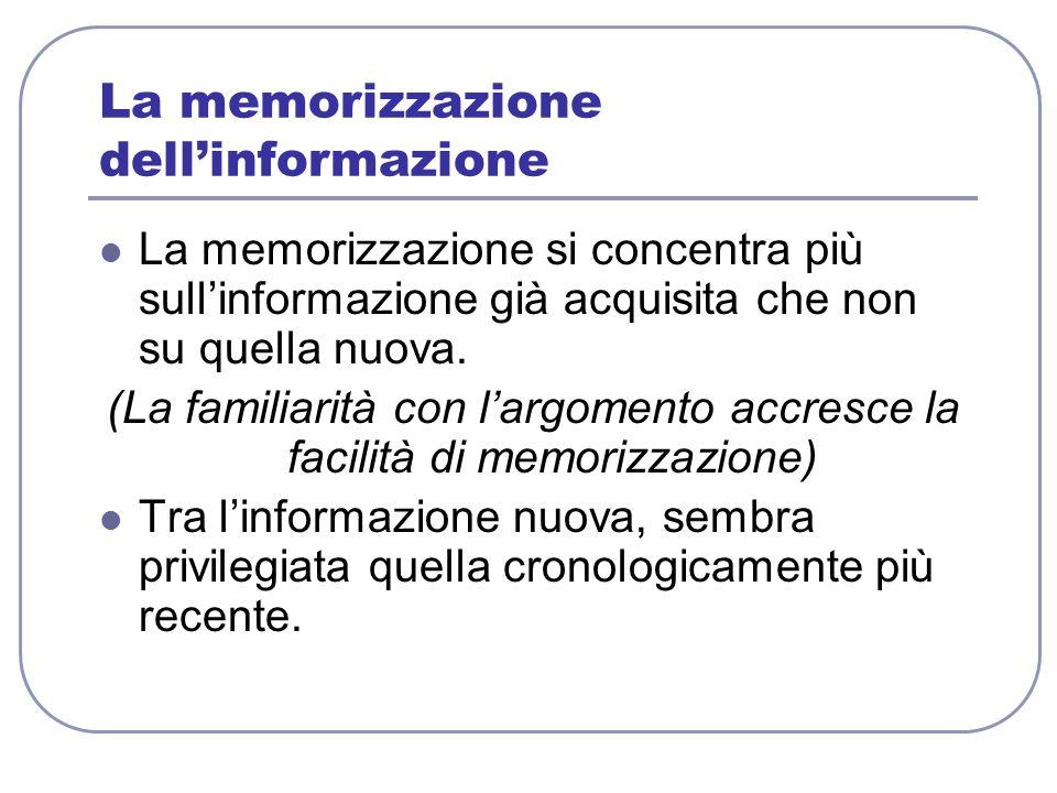 La memorizzazione dell'informazione La memorizzazione si concentra più sull'informazione già acquisita che non su quella nuova. (La familiarità con l'