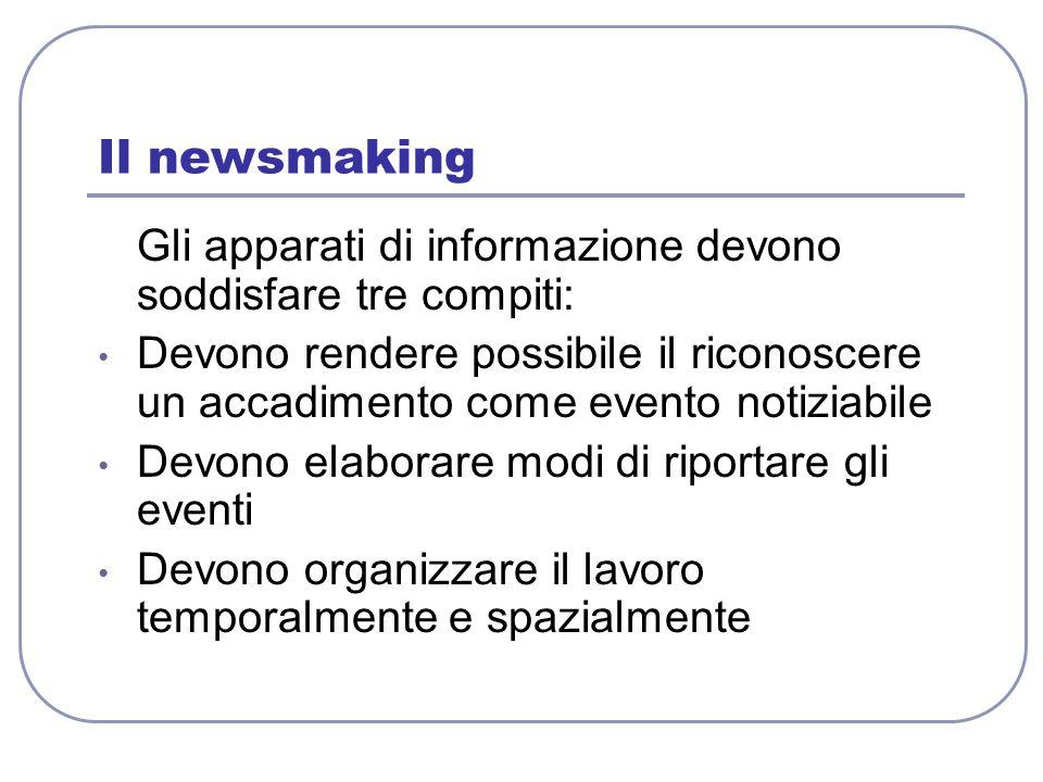 Il newsmaking Gli apparati di informazione devono soddisfare tre compiti: Devono rendere possibile il riconoscere un accadimento come evento notiziabi