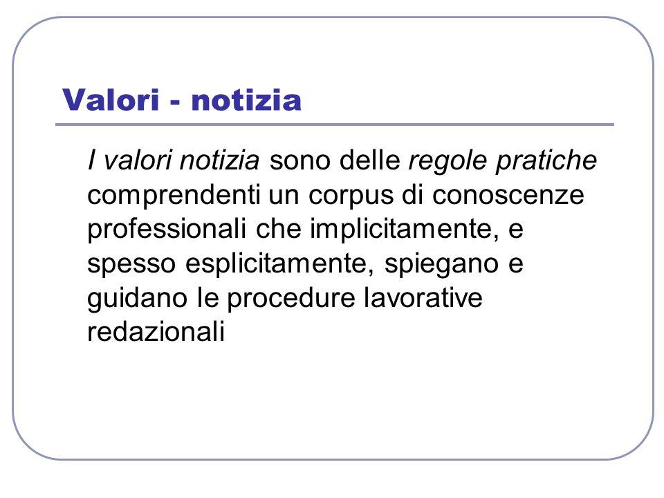 Valori - notizia I valori notizia sono delle regole pratiche comprendenti un corpus di conoscenze professionali che implicitamente, e spesso esplicita