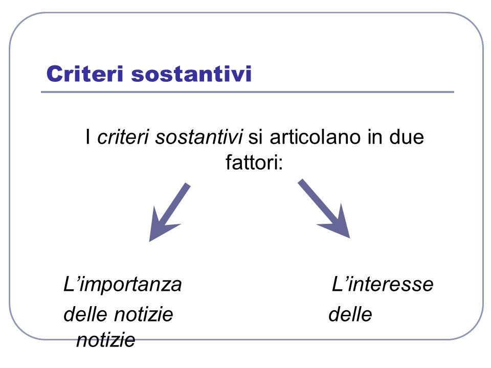 Criteri sostantivi I criteri sostantivi si articolano in due fattori: L'importanza L'interesse delle notizie delle notizie