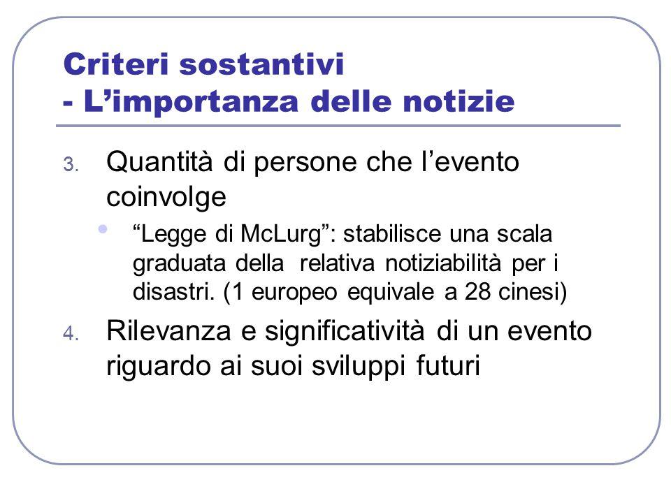 """Criteri sostantivi - L'importanza delle notizie 3. Quantità di persone che l'evento coinvolge """"Legge di McLurg"""": stabilisce una scala graduata della r"""