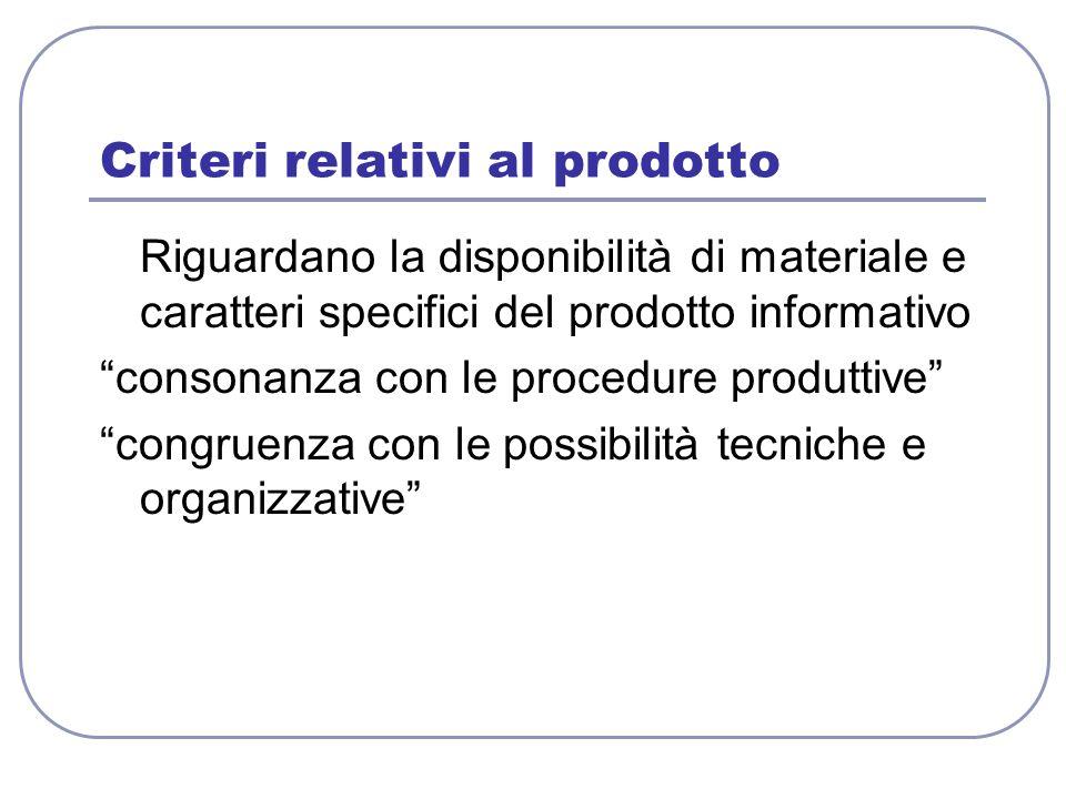 """Criteri relativi al prodotto Riguardano la disponibilità di materiale e caratteri specifici del prodotto informativo """"consonanza con le procedure prod"""