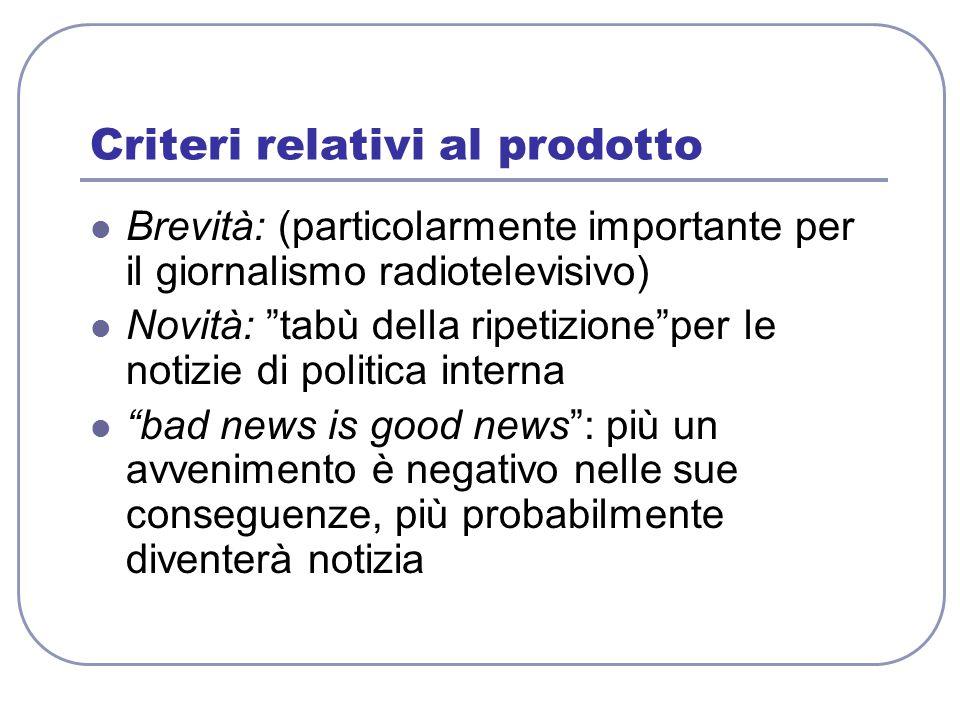 """Criteri relativi al prodotto Brevità: (particolarmente importante per il giornalismo radiotelevisivo) Novità: """"tabù della ripetizione""""per le notizie d"""