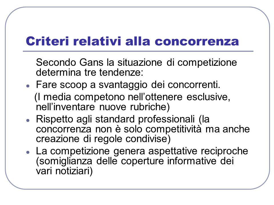 Criteri relativi alla concorrenza Secondo Gans la situazione di competizione determina tre tendenze: ● Fare scoop a svantaggio dei concorrenti. (I med