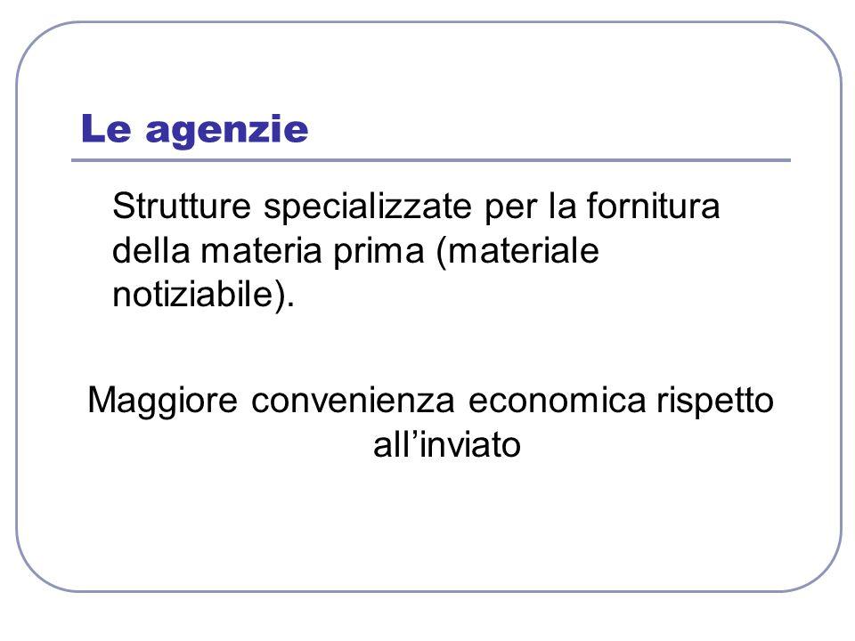 Le agenzie Strutture specializzate per la fornitura della materia prima (materiale notiziabile). Maggiore convenienza economica rispetto all'inviato