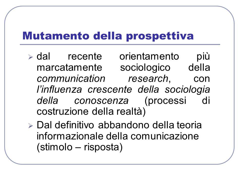 Mutamento della prospettiva  dal recente orientamento più marcatamente sociologico della communication research, con l'influenza crescente della soci