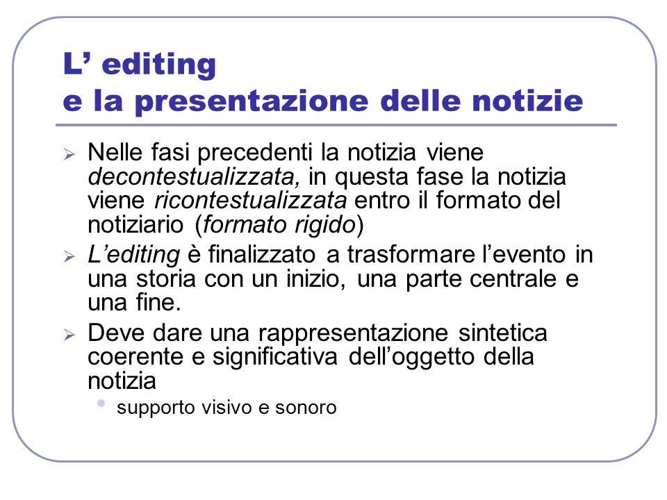 L' editing e la presentazione delle notizie  Nelle fasi precedenti la notizia viene decontestualizzata, in questa fase la notizia viene ricontestuali