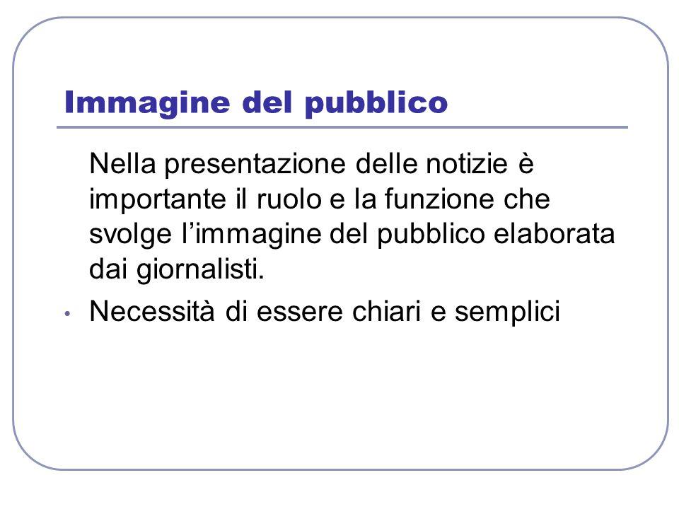 Immagine del pubblico Nella presentazione delle notizie è importante il ruolo e la funzione che svolge l'immagine del pubblico elaborata dai giornalis