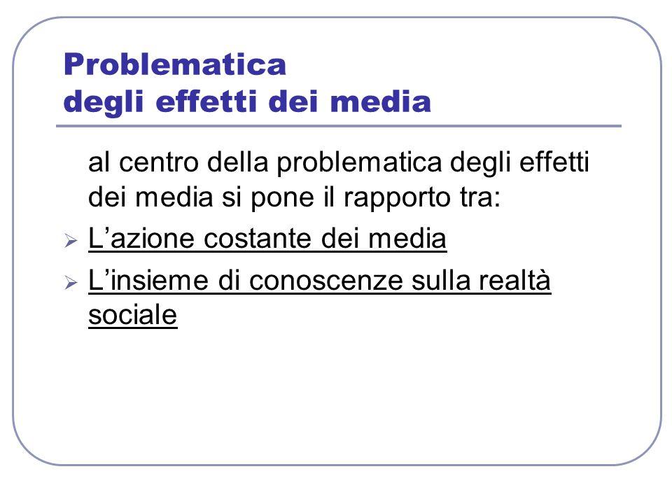 Problematica degli effetti dei media al centro della problematica degli effetti dei media si pone il rapporto tra:  L'azione costante dei media  L'i