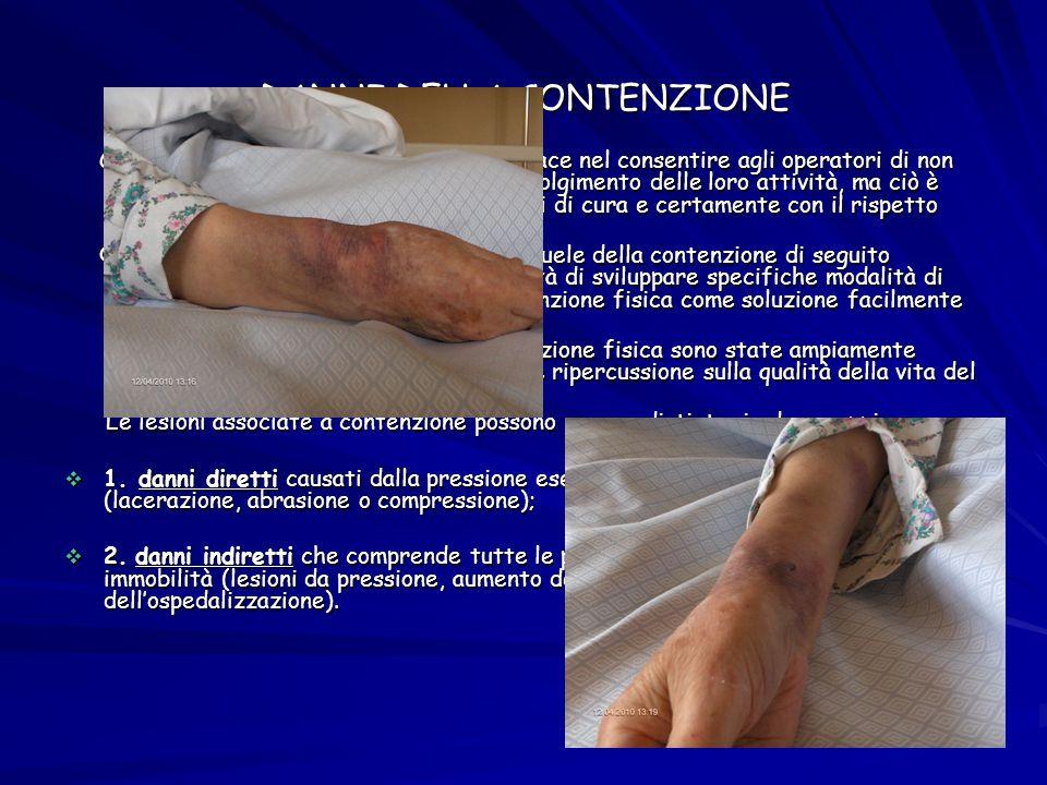 DANNI DELLA CONTENZIONE Certamente la contenzione fisica è efficace nel consentire agli operatori di non essere distolti dai pazienti durante lo svolg