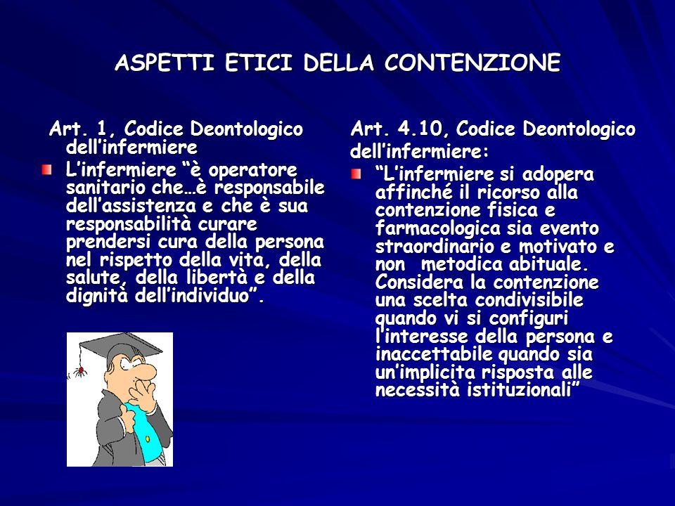 """ASPETTI ETICI DELLA CONTENZIONE Art. 1, Codice Deontologico dell'infermiere Art. 1, Codice Deontologico dell'infermiere L'infermiere """"è operatore sani"""