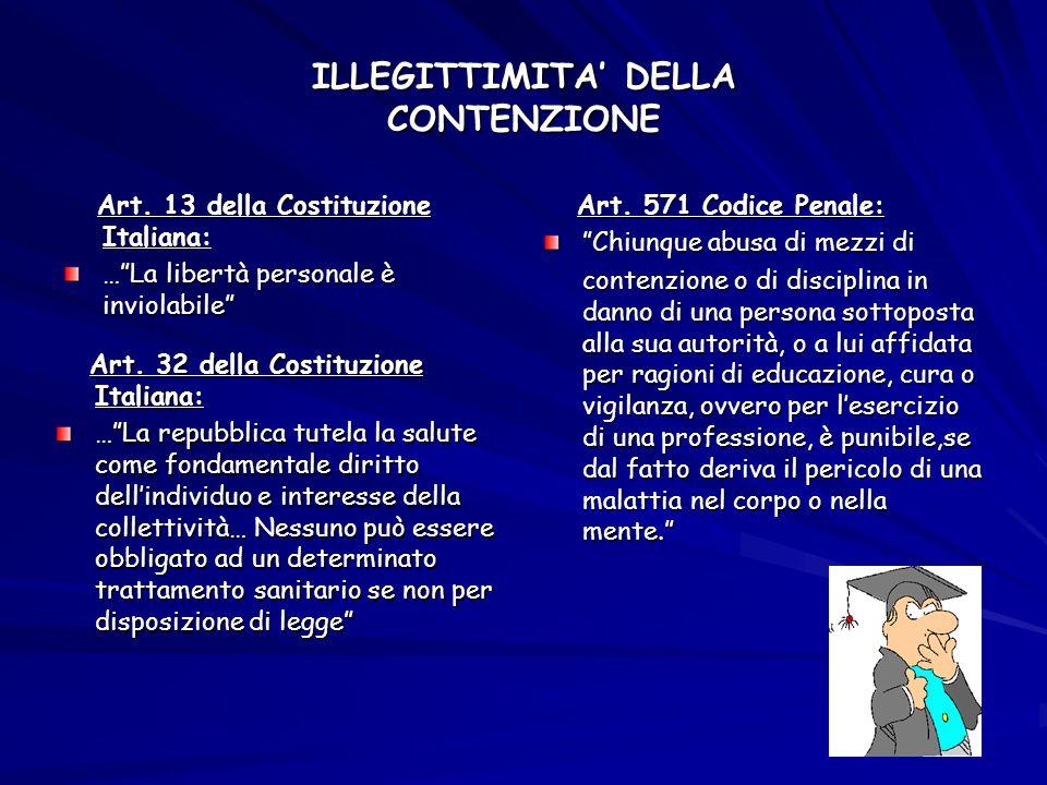 """ILLEGITTIMITA' DELLA CONTENZIONE Art. 13 della Costituzione Italiana: Art. 13 della Costituzione Italiana: …""""La libertà personale è inviolabile"""" Art."""
