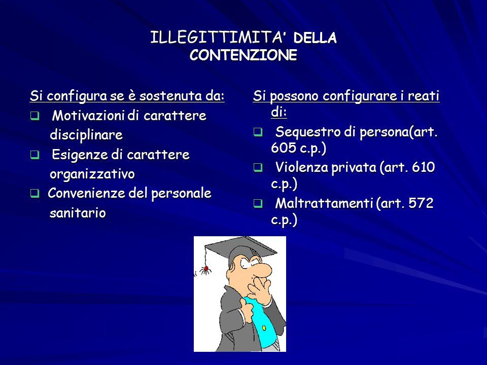 ILLEGITTIMITA ' DELLA CONTENZIONE Si configura se è sostenuta da:  Motivazioni di carattere disciplinare disciplinare  Esigenze di carattere organiz