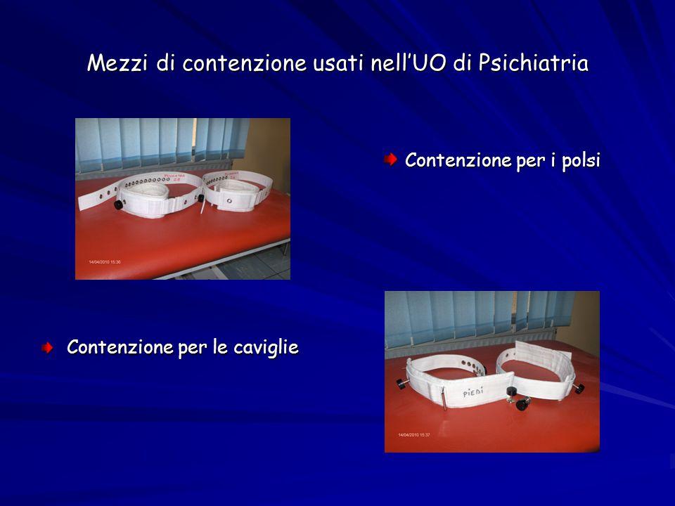 Mezzi di contenzione usati nell'UO di Psichiatria Contenzione per i polsi Contenzione per le caviglie
