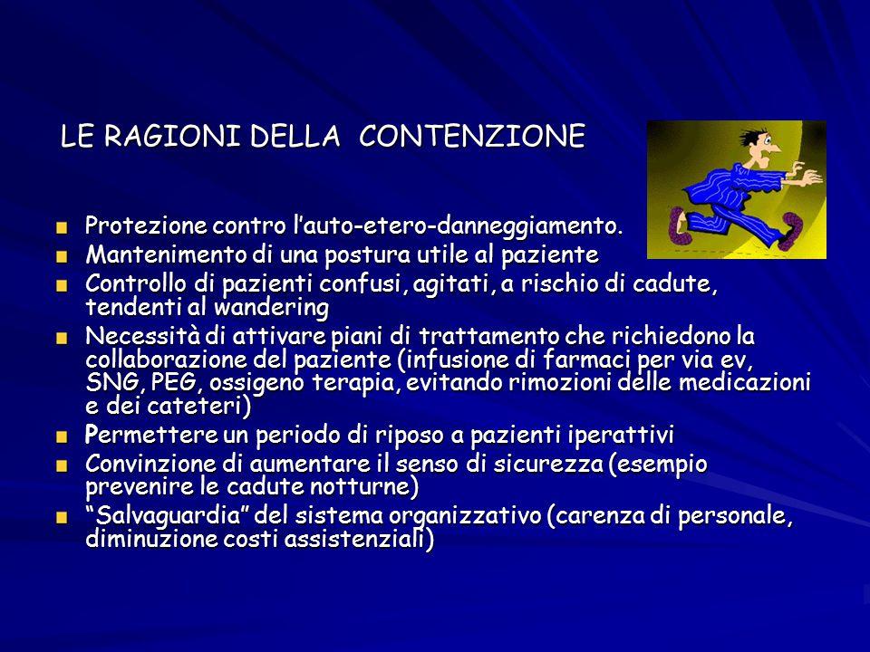 LE RAGIONI DELLA CONTENZIONE LE RAGIONI DELLA CONTENZIONE Protezione contro l'auto-etero-danneggiamento. Mantenimento di una postura utile al paziente