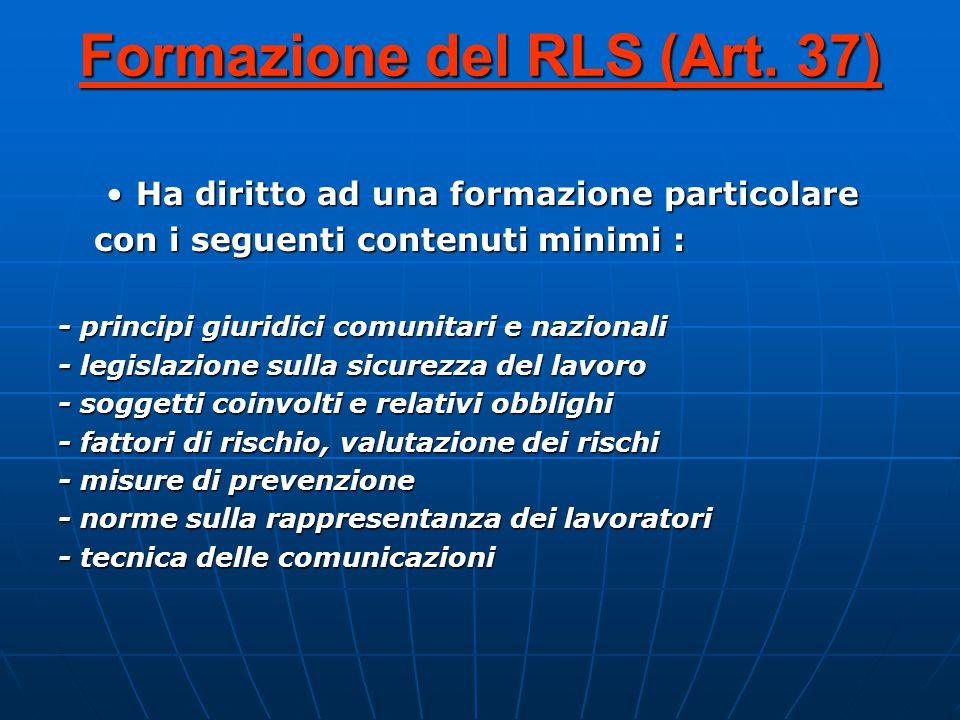 Formazione del RLS (Art.