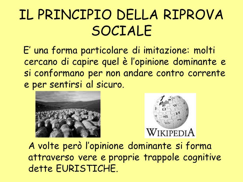IL PRINCIPIO DELLA RIPROVA SOCIALE E' una forma particolare di imitazione: molti cercano di capire quel è l'opinione dominante e si conformano per non andare contro corrente e per sentirsi al sicuro.