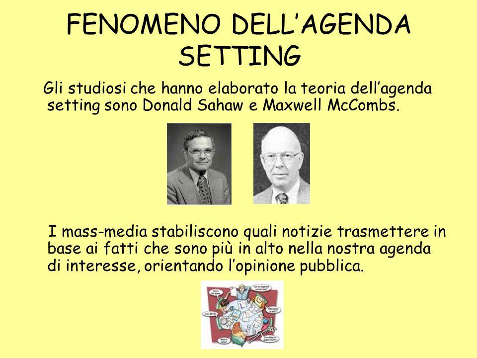 FENOMENO DELL'AGENDA SETTING Gli studiosi che hanno elaborato la teoria dell'agenda setting sono Donald Sahaw e Maxwell McCombs.