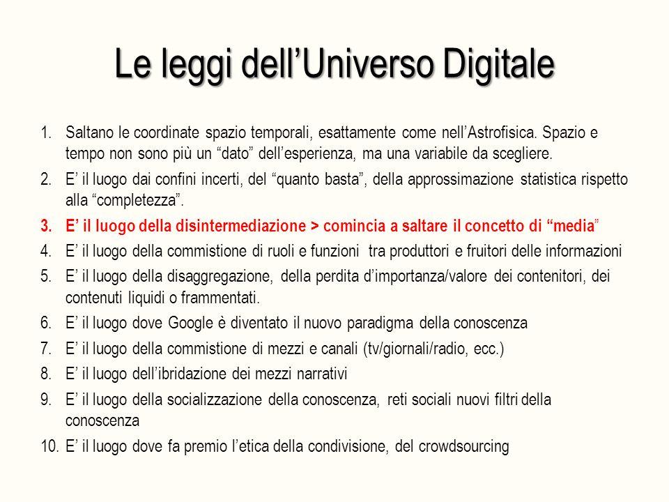 """Le leggi dell'Universo Digitale 1.Saltano le coordinate spazio temporali, esattamente come nell'Astrofisica. Spazio e tempo non sono più un """"dato"""" del"""