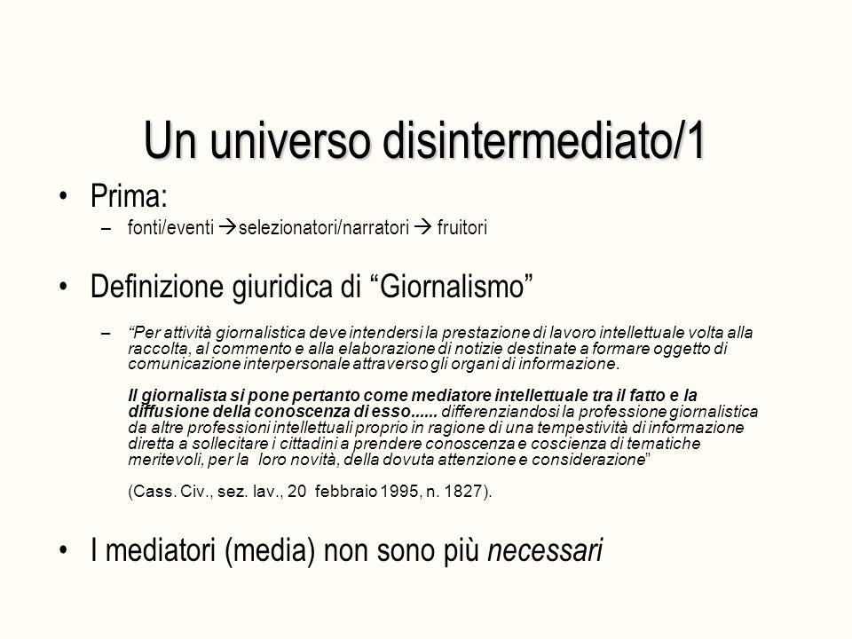 """Un universo disintermediato/1 Prima: –fonti/eventi  selezionatori/narratori  fruitori Definizione giuridica di """"Giornalismo"""" –""""Per attività giornali"""