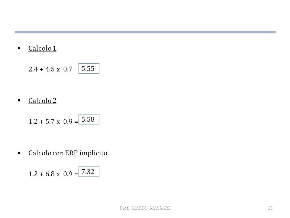  Calcolo 1 2.4 + 4.5 x 0.7 =  Calcolo 2 1.2 + 5.7 x 0.9 =  Calcolo con ERP implicito 1.2 + 6.8 x 0.9 = Prof.
