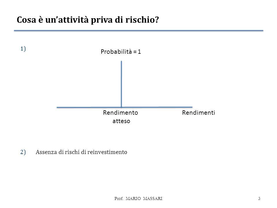 Cosa è un'attività priva di rischio.1) 2)Assenza di rischi di reinvestimento 3Prof.