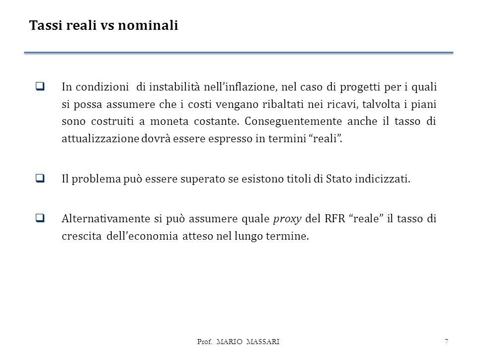 Tassi reali vs nominali  In condizioni di instabilità nell'inflazione, nel caso di progetti per i quali si possa assumere che i costi vengano ribaltati nei ricavi, talvolta i piani sono costruiti a moneta costante.