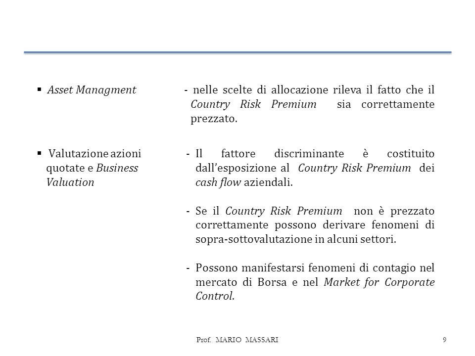 9  Asset Managment - nelle scelte di allocazione rileva il fatto che il Country Risk Premium sia correttamente prezzato.