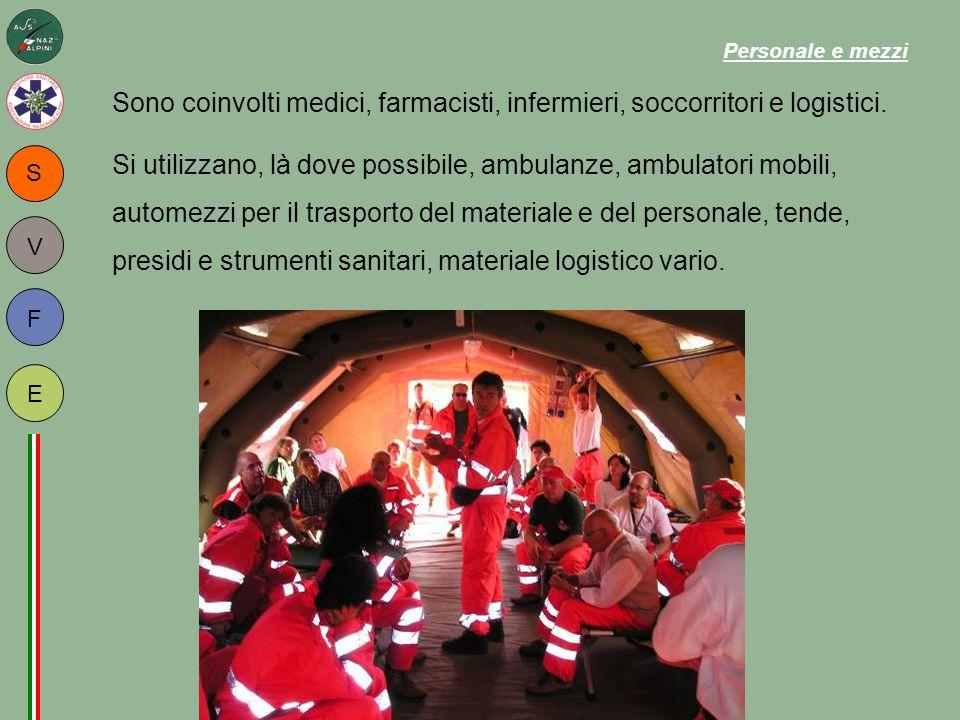 S F E V Sono coinvolti medici, farmacisti, infermieri, soccorritori e logistici. Si utilizzano, là dove possibile, ambulanze, ambulatori mobili, autom