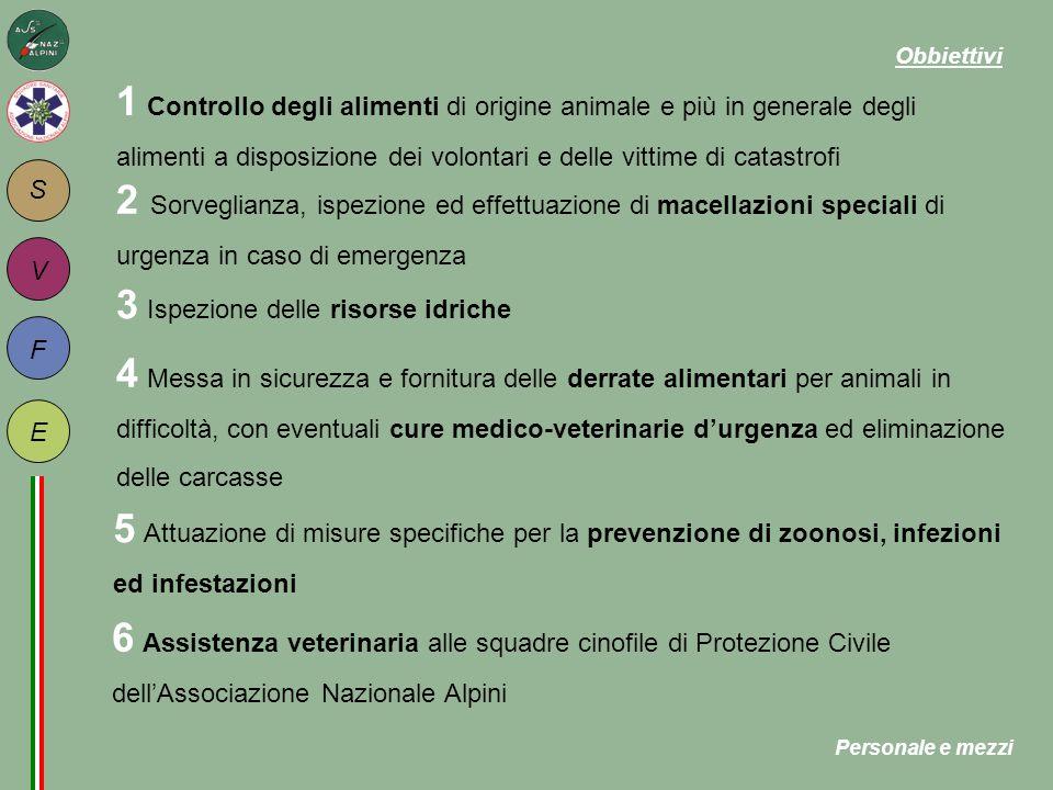 S F E V 1 Controllo degli alimenti di origine animale e più in generale degli alimenti a disposizione dei volontari e delle vittime di catastrofi 2 So
