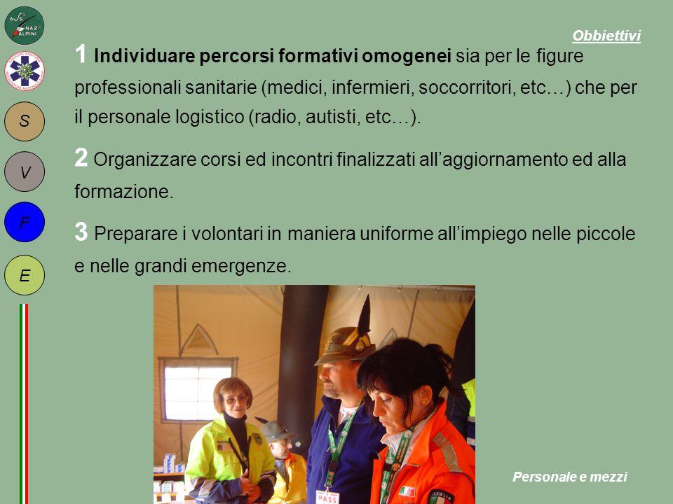 S F E V 1 Individuare percorsi formativi omogenei sia per le figure professionali sanitarie (medici, infermieri, soccorritori, etc…) che per il personale logistico (radio, autisti, etc…).