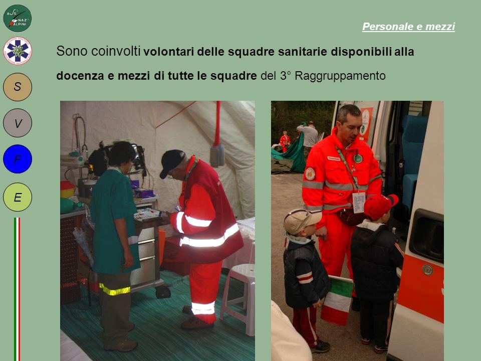 S F E V Sono coinvolti volontari delle squadre sanitarie disponibili alla docenza e mezzi di tutte le squadre del 3° Raggruppamento