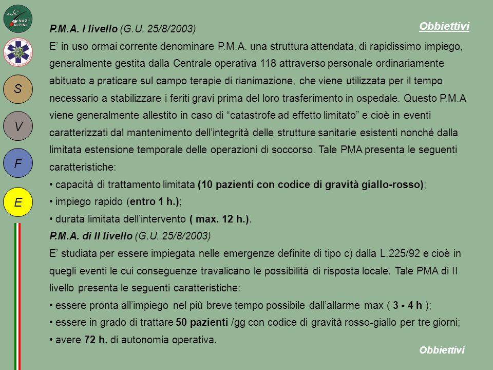 P.M.A. I livello (G.U. 25/8/2003) E' in uso ormai corrente denominare P.M.A. una struttura attendata, di rapidissimo impiego, generalmente gestita dal