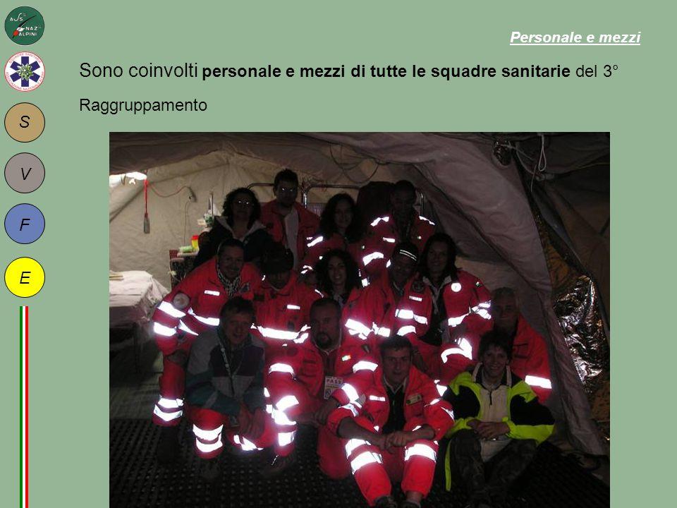 S F E V Sono coinvolti personale e mezzi di tutte le squadre sanitarie del 3° Raggruppamento Personale e mezzi