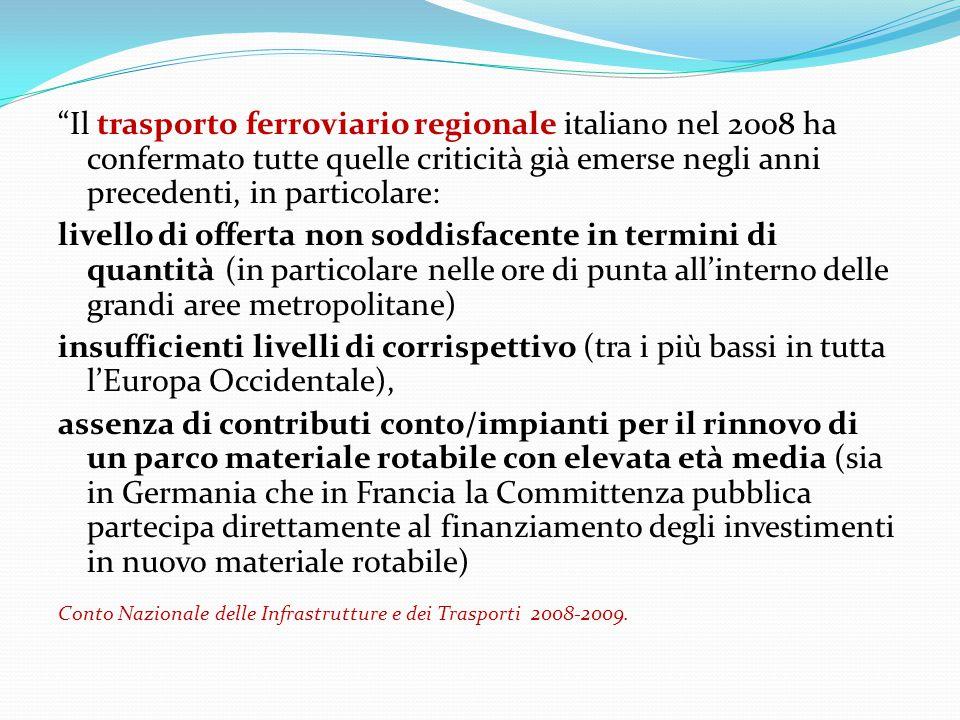 """""""Il trasporto ferroviario regionale italiano nel 2008 ha confermato tutte quelle criticità già emerse negli anni precedenti, in particolare: livello d"""